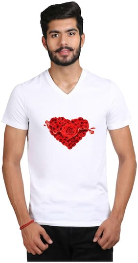 Snoby Heart White Printed V-Neck Tshirt