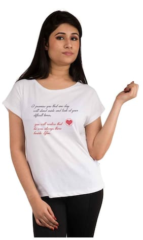 Snoby Printed White T Shirt