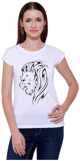 Snoby White Cotton Blend Round neck Lio Print T-Shirt