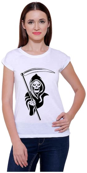 Snoby Women Printed Round neck T shirt - White