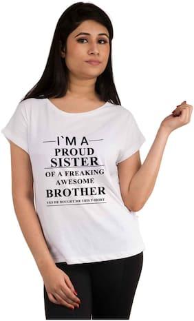 Snoby Women Graphic Round neck T shirt - White