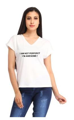Snoby Women I Am Not Perfect Casual Printed White Tshirt