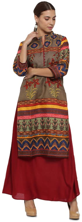 Soch Women Rayon Printed Straight Kurta - Brown