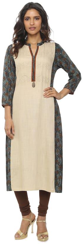 Soch Women Cotton Embroidered Straight Kurta - Beige