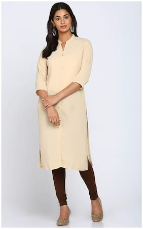 Soch Women Georgette Solid Straight Kurti - Beige