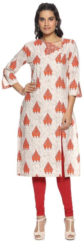 Soch Women Cotton Printed Straight Kurti - Beige
