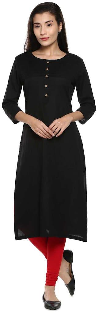 Soch Women Cotton Solid Straight Kurta - Black