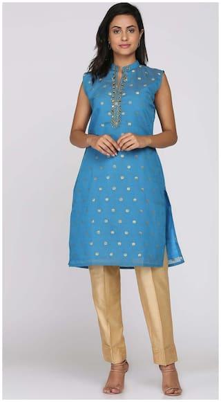 Soch Women Blue Embroidered Straight Kurti
