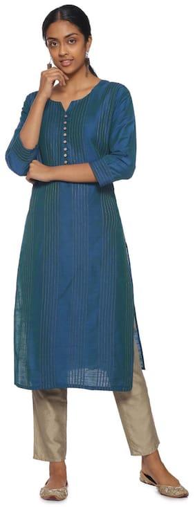 Soch Blue Cotton Embroidered Kurti