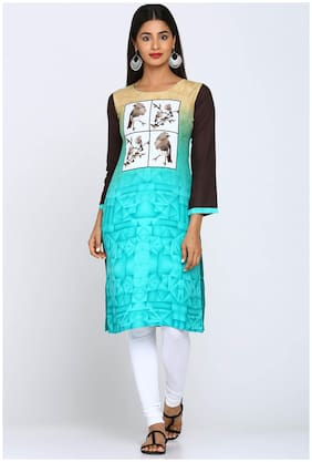 Soch Women Rayon Printed Straight Kurti - Blue