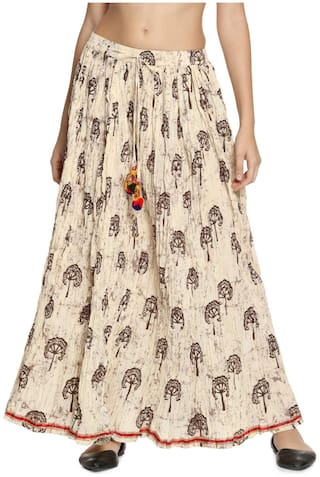 Soch Printed Flared Skirt Maxi Skirt - White