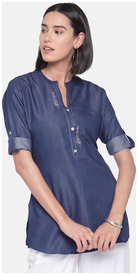 Women Embroidered Mandarin Collar Top