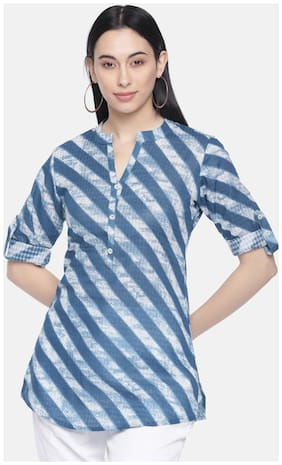 Women Striped Mandarin Collar Top