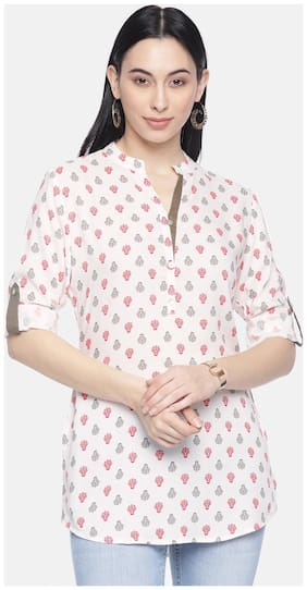 Women Printed Mandarin Collar Top