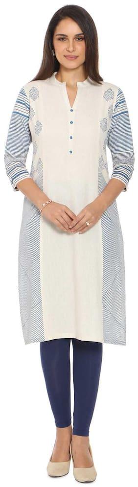 Soch Women Cotton Solid Straight Kurti - White