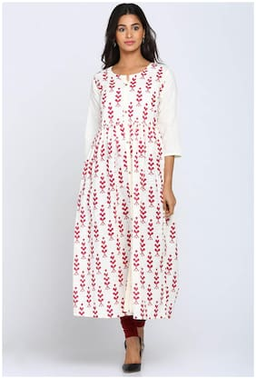 Soch Cream Cotton A-Line Printed Kurti