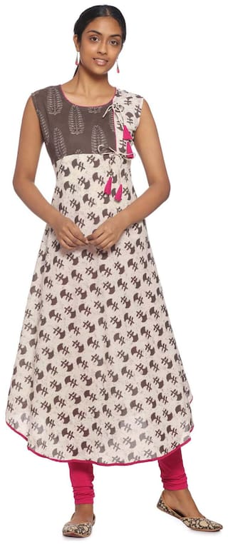 Soch Cream Printed Cotton Kurti