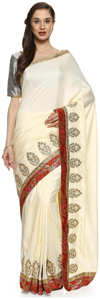 Buy Soch Cream Silk Embroidered Saree Online At Low Prices In India