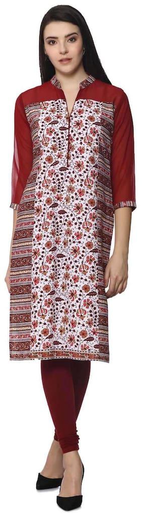 Soch Women Cotton Floral Straight Kurta - Red