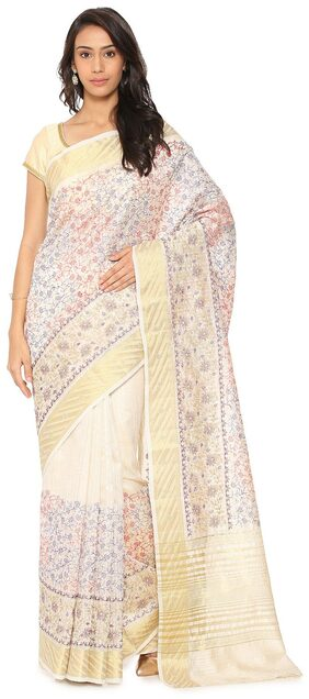 Soch Silk Tussar Embroidered Work Saree - White