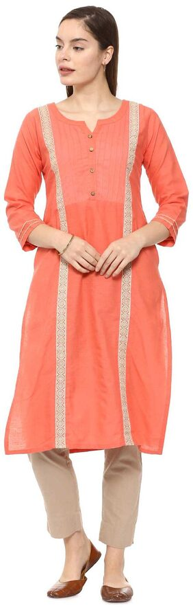 Soch Women Cotton Embroidered Straight Kurti - Red