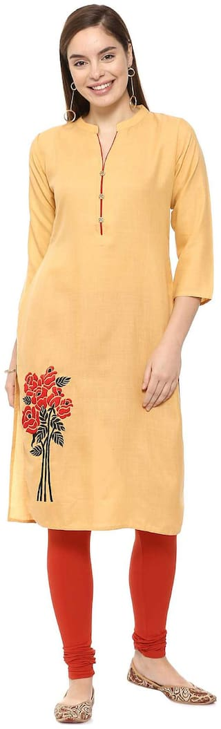Soch Women Cotton Embroidered Straight Kurti - Yellow