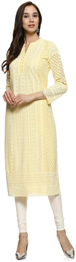 Soch Women Georgette Embroidered Straight Kurti - Yellow