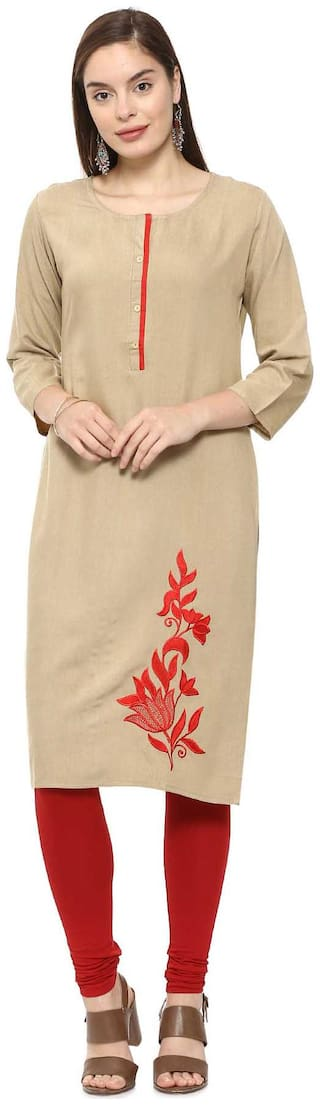 Soch Women Rayon Embroidered Straight Kurti - Beige