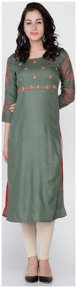 Soch Women Cotton Printed Straight Kurti - Green