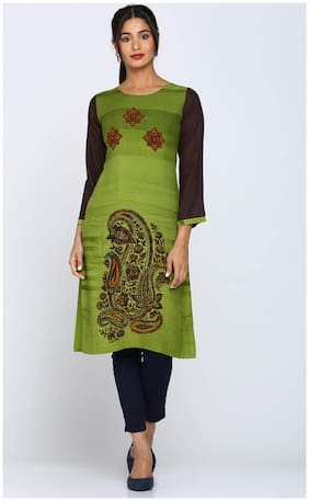 Soch Women Rayon Printed Straight Kurti - Green