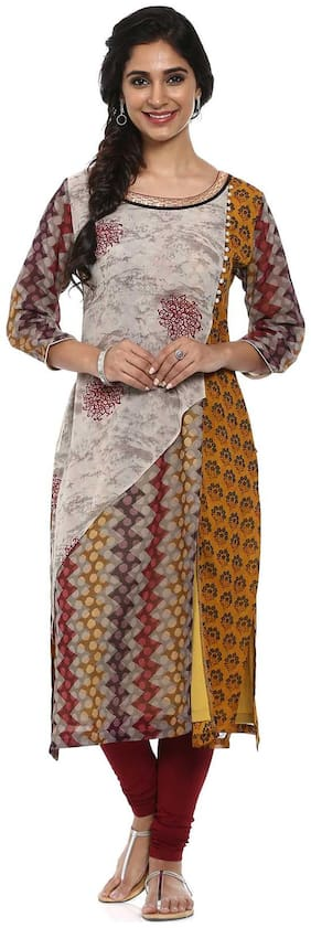 Soch Women Georgette Printed A line Kurta - Grey