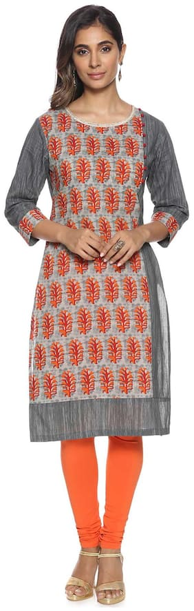 Soch Women Cotton Printed Straight Kurti - Grey