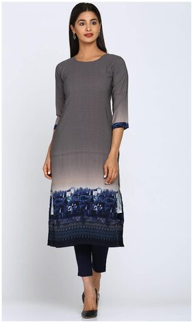 Soch Women Polyester Printed Straight Kurti - Grey
