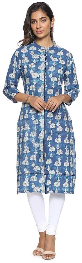 Soch Women Cotton Printed Straight Kurti - Blue