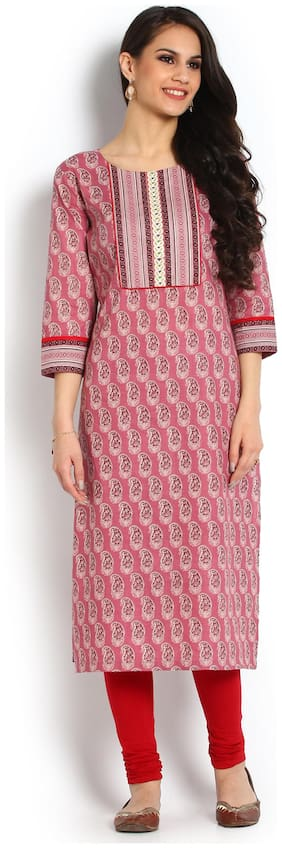 Soch Women Cotton Embroidered Straight Kurti - Pink
