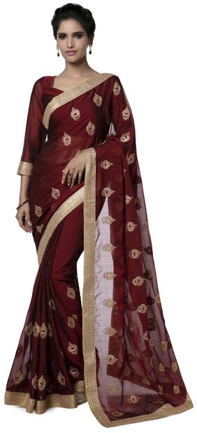 Soch Chiffon Tussar Embroidered Work Saree - Maroon