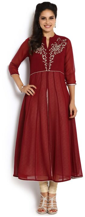 Soch Women Georgette Embroidered Anarkali Kurti - Maroon