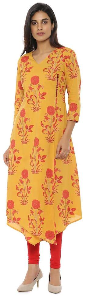 Soch Women Cotton Printed A line Kurti - Yellow