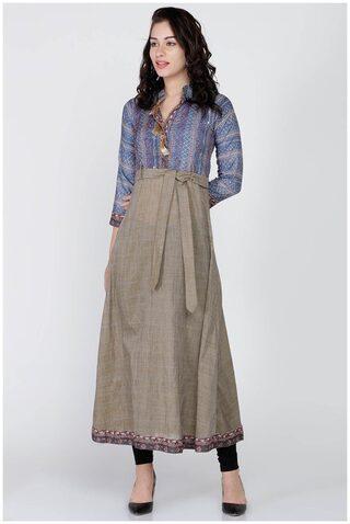 Soch Women Cotton Embroidered A Line Kurti - Blue