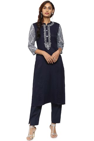 3aa8a2c68 Buy Soch Navy Blue Cotton Straight Kurti Suit Online at Low Prices ...