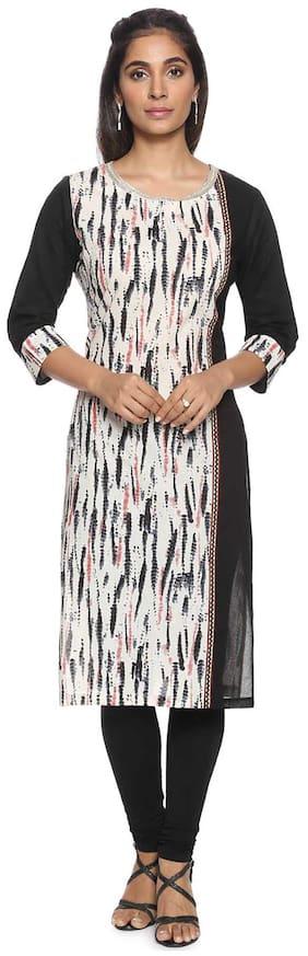 Soch Women Cotton Printed Straight Kurti - White