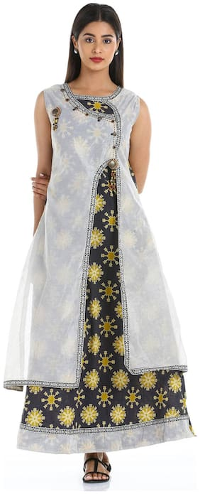 Soch Women Chanderi Printed Straight Kurti - White