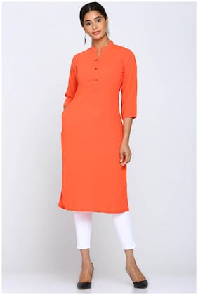 Soch Women Georgette Solid Straight Kurti - Orange