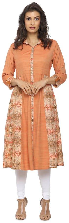 Soch Women Cotton Printed A Line Kurta - Orange