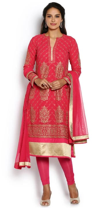 acade884cb Buy Soch Pink And Beige Georgette Salwar Suit Online at Low Prices ...