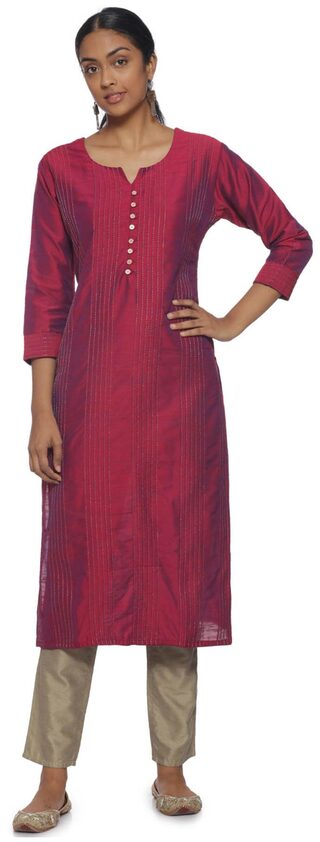 Soch Pink Cotton Embroidered Kurti