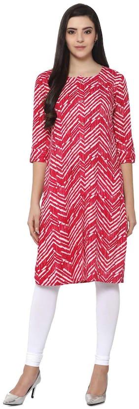 Soch Women Rayon Striped Straight Kurta - Pink
