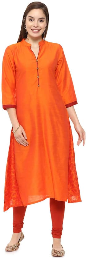 Soch Women Silk Printed A line Kurti - Orange