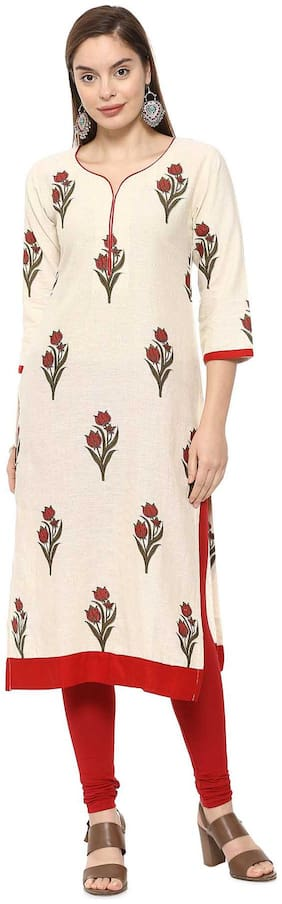 Soch Women Cotton Printed Straight Kurti - Beige