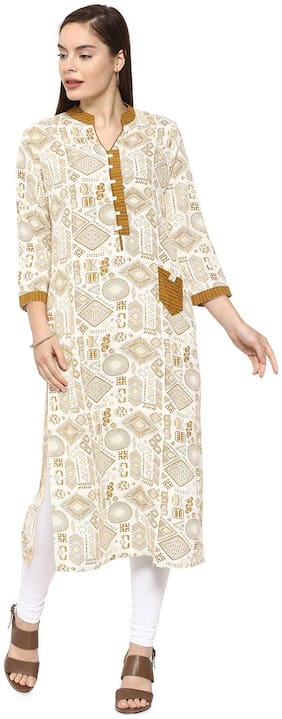 Soch Women Cotton Printed Straight Kurti - White